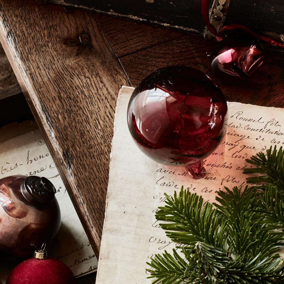 Boule de Noël en verre rouge D7,7cm-SILETTE