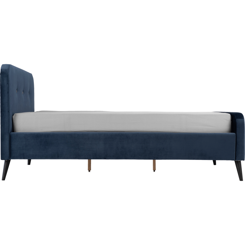 Lit 2 places avec structure en velours Bleu figuerolles - 160x200 cm-AGNES