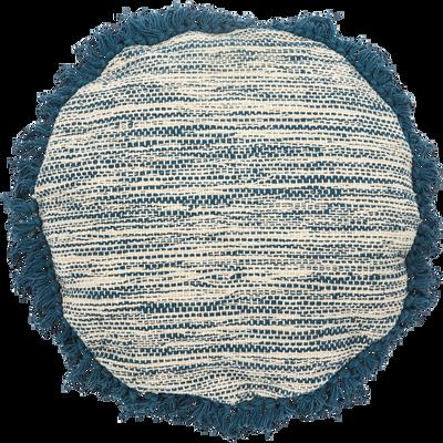 Coussin en coton écru et bleu D40cm-PALOMA
