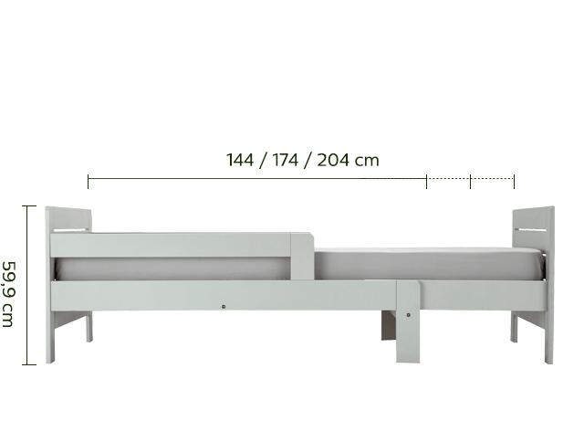 Lit 1 place évolutif vert olivier en pin 3 positions pour enfant-LILOU