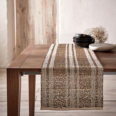 Chemin de table en paille et coton - blanc écru 34x150cm-DOUMA