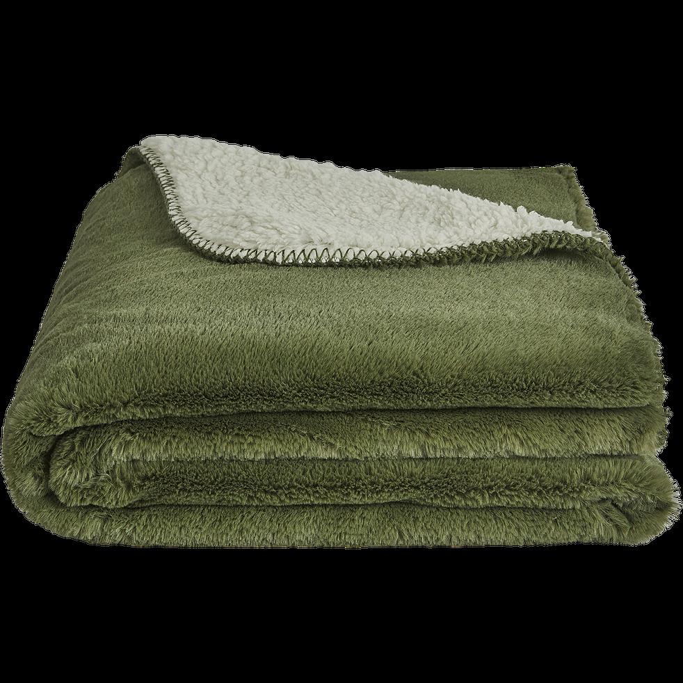 Plaid doux imitation fourrure vert cèdre (plusieurs tailles)-MARIUS