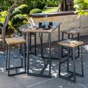 Table haute de jardin rectangulaire effet bois L120cm (4 places)-DUBLIN