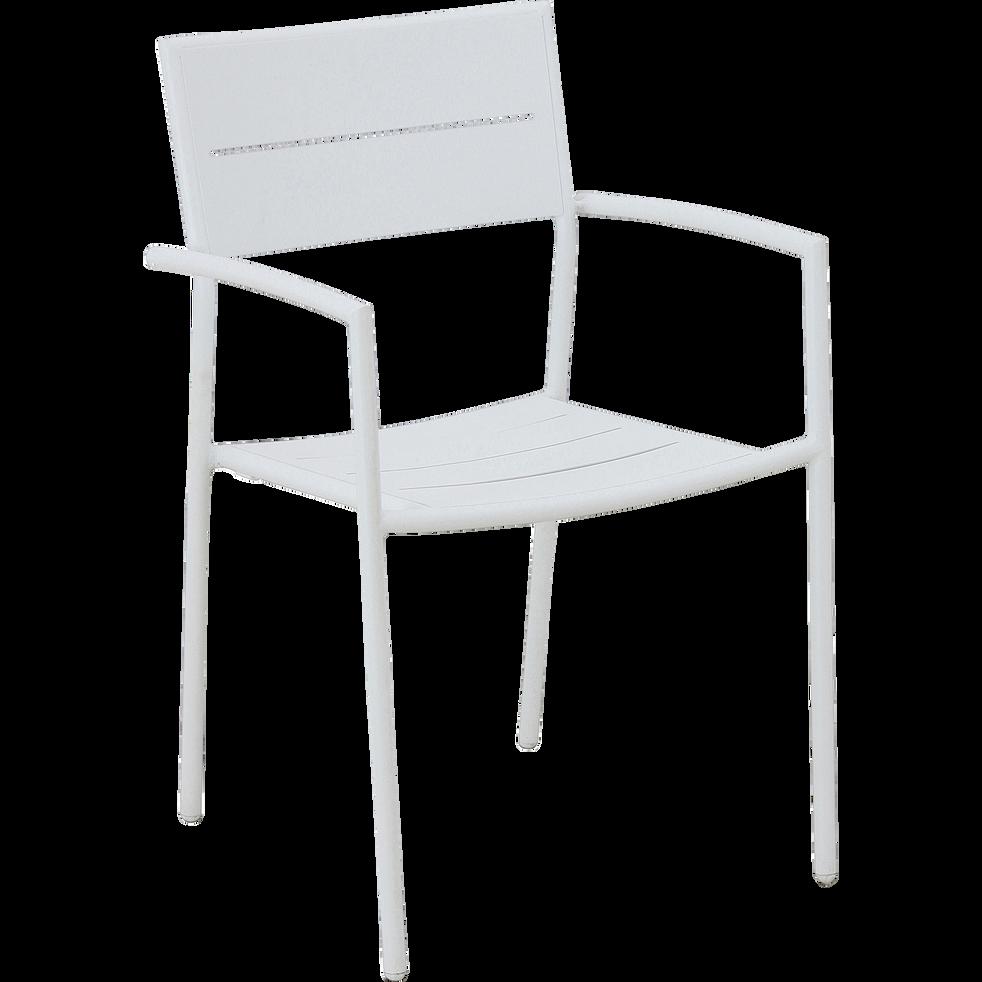 Chaise de jardin blanche en acier-MAGUY