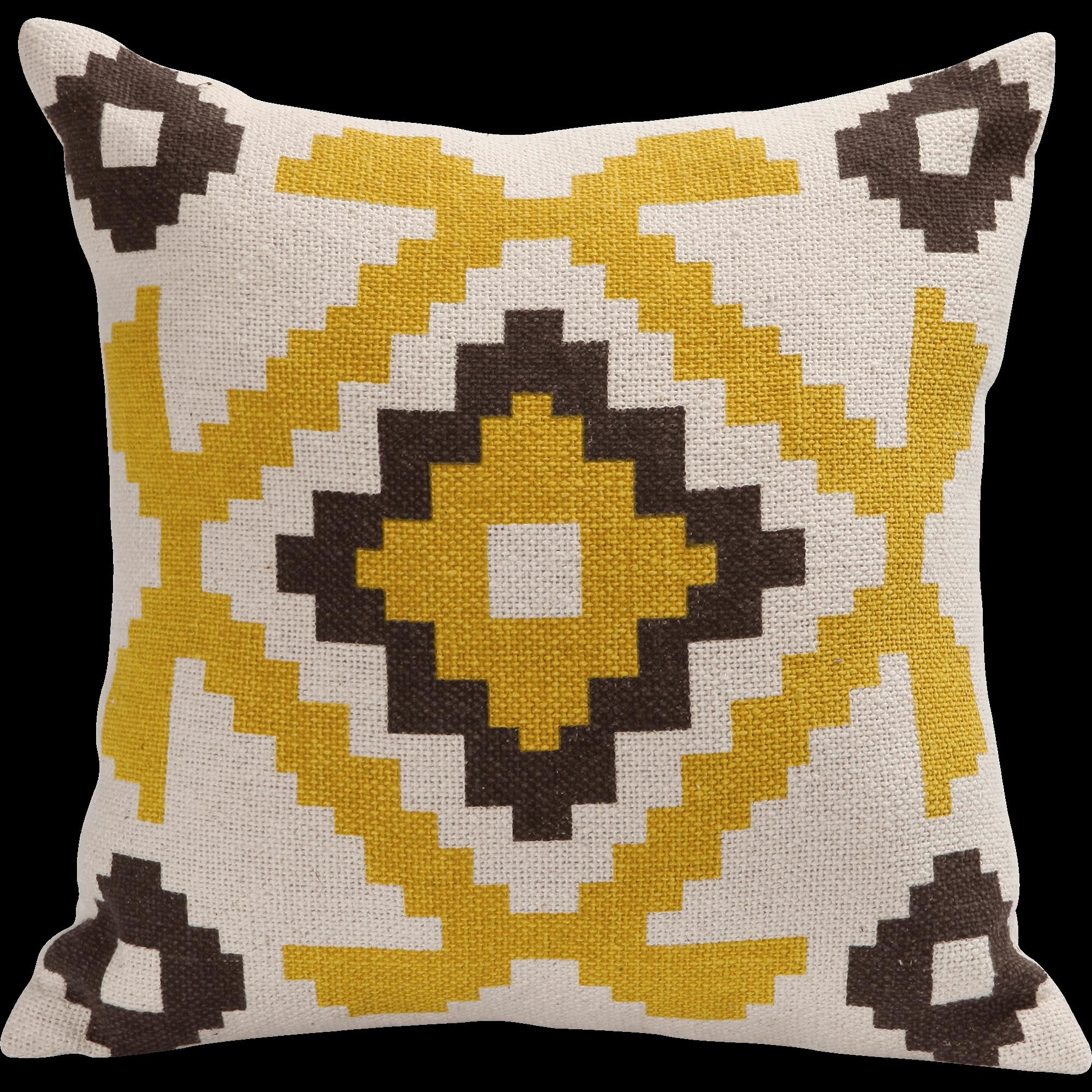 Coussin motifs aztèques jaunes 40x40cm -