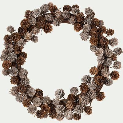 Couronne de Noël en pommes de pin - marron D45cm-VITALIEN