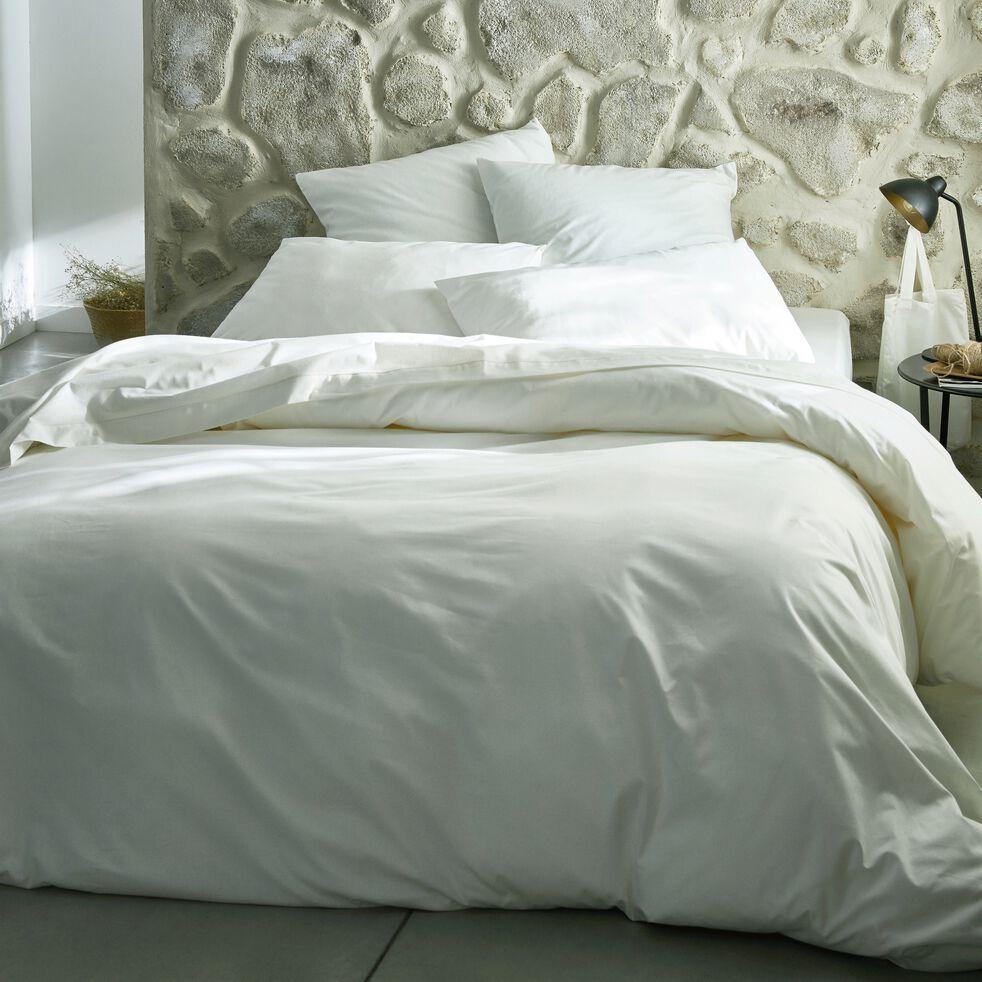Drap plat en coton - blanc capelan 270x300cm-CALANQUES