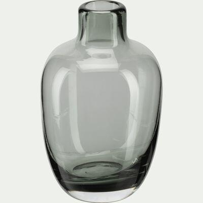Vase bouteille en verre gris H10 cm-TAPHOS