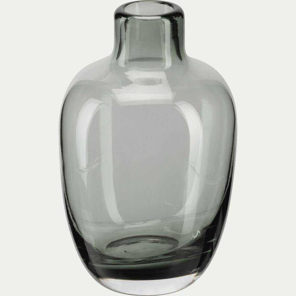 Vase bouteille en verre - gris restanque H10cm-TAPHOS