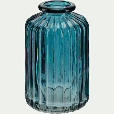 Vase sillonné en verre - bleu niolon H10cm-Cios