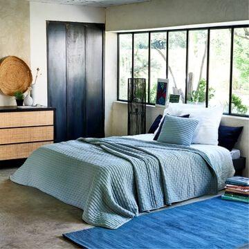 Couvre-lit en tissu surpiqué - bleu calaluna 230x250cm-BENITO