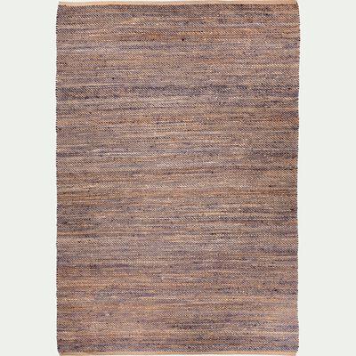 Tapis tressé en jute naturel et bleu 160x230cm-AARON