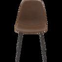 Chaise rétro en simili marron-CHARLOTTE