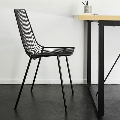 Chaise filaire en acier - noir-MARAGE