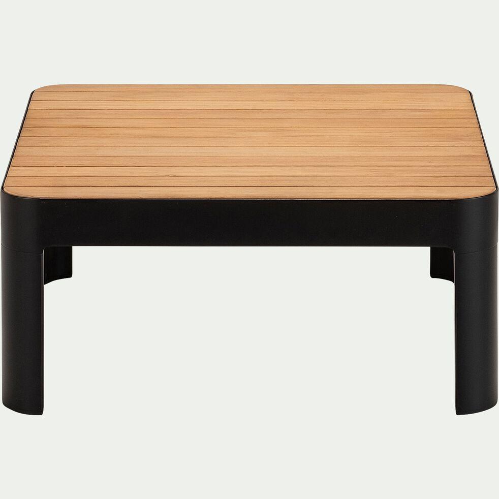 Table basse de jardin carrée en Teck FSC et aluminium - noir-PORTALS