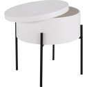 Bout de canapé blanc avec coffre de rangement-DOUFINO