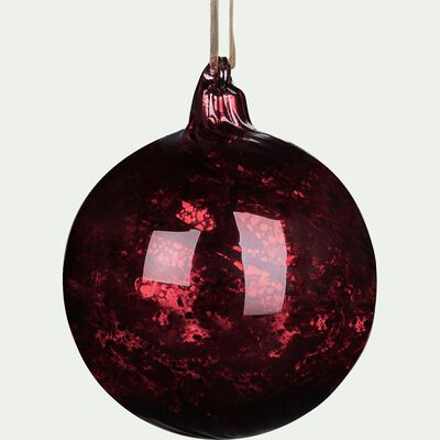 Boule de Noël en verre rouge sumac D9cm-BATRONE
