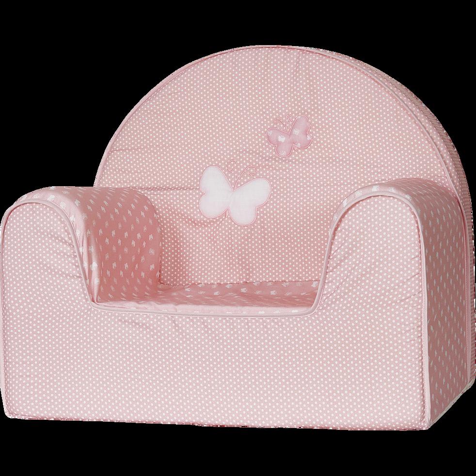 Fauteuil club rose et blanc pour enfant-PAPILLONS