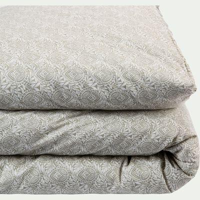 Housse de couette en coton motif Amande - gris borie 260x240cm-CIGALO