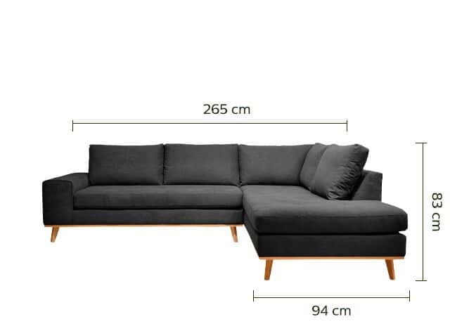 Canapé d'angle fixe droit en tissu - gris anthracite-PICABIA