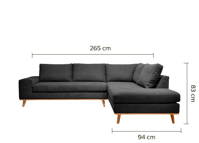 Canapé d'angle fixe droit en tissu anthracite-PICABIA