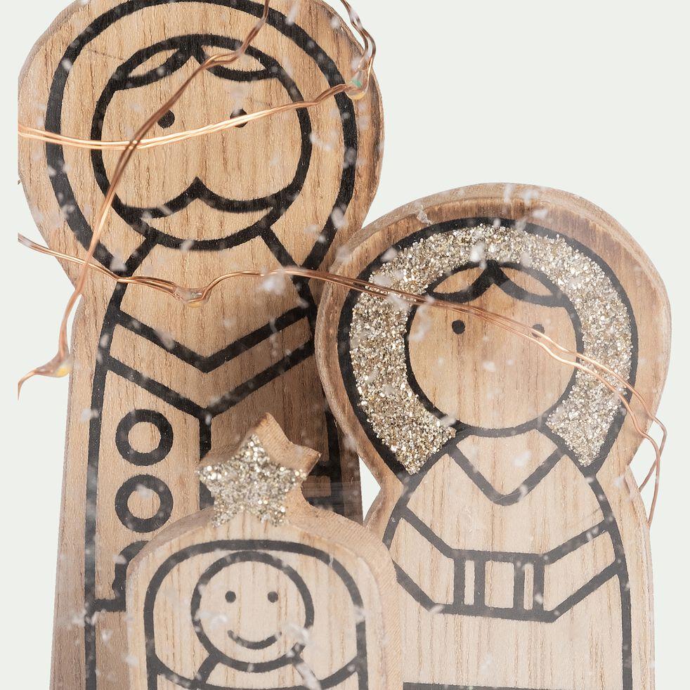 Crèche cloche famille sainte en bois H16,5cm-SPERITE