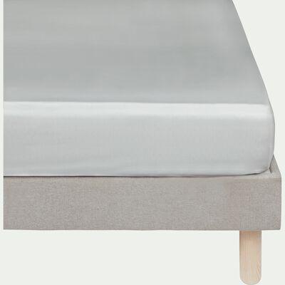 Drap housse rayé en satin de coton - gris borie 160x200cm B25cm-SANTIS
