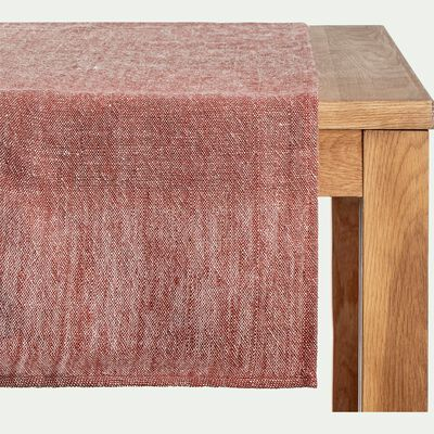 Chemin de table en lin chambray - rouge terracotta 50x200cm-SOBRA
