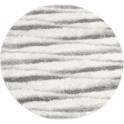 Tapis rond à motifs blanc et noir D160 cm-LAURA
