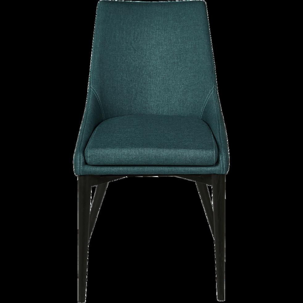 Chaise En Tissu Vert Cedre Pieds Noirs ABBY