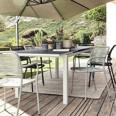 Table de jardin extensible en verre et aluminium (6 à 10 places)-LANCIANO