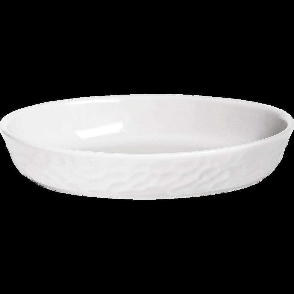Plat à four ovale en grès blanc - 24x16cm-MARTELLO