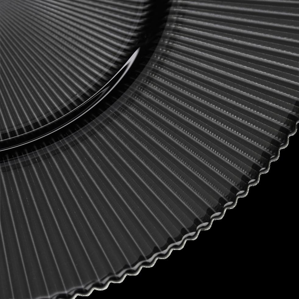 Assiette plate en verre strié gris foncé D28.5cm-SUPERBE