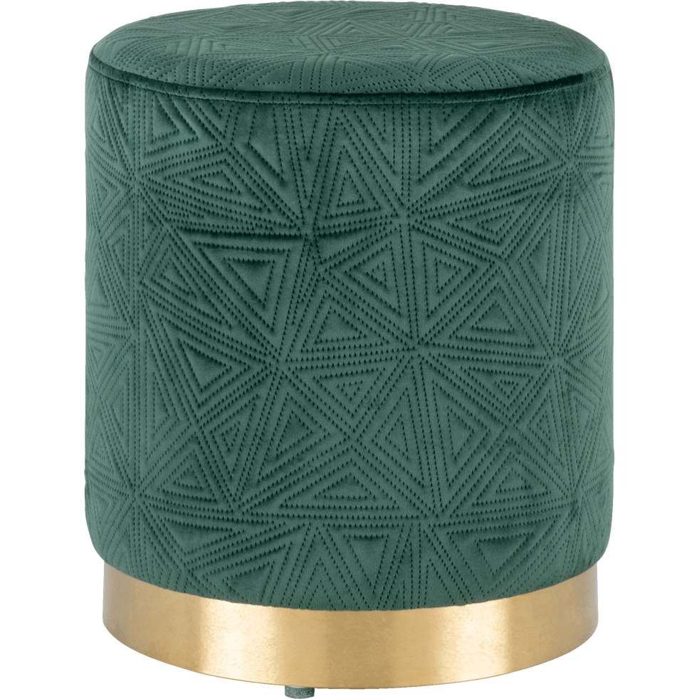 Pouf en velours vert cèdre-ALON