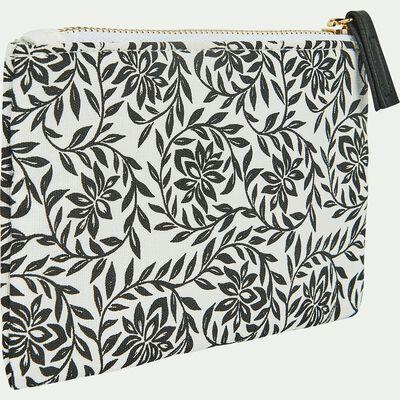 Trousse en coton motif jasmin 11x16 cm-Jasmin