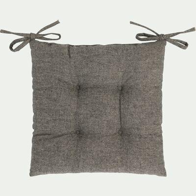 Galette de chaise piquée en polyester - gris clair 40x40cm-CORBIN