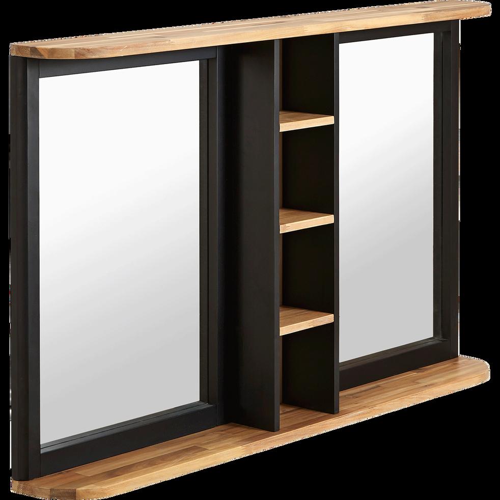 Miroir rectangulaire de salle de bains en acacia massif - Miroirs salle de bain avec eclairage ...