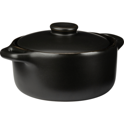Mini cocotte ronde en grès noir D10cm-MIOU