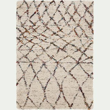 Tapis à motif d'inspiration berbère - blanc 120x170cm-BELIS