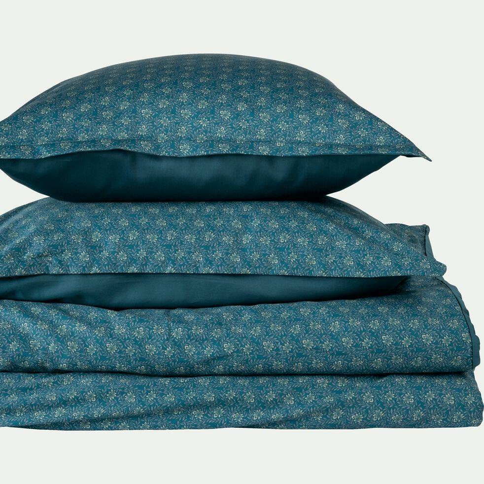Drap housse en satin motif Jasmin - bleu 140x200cm B25cm-SOUN