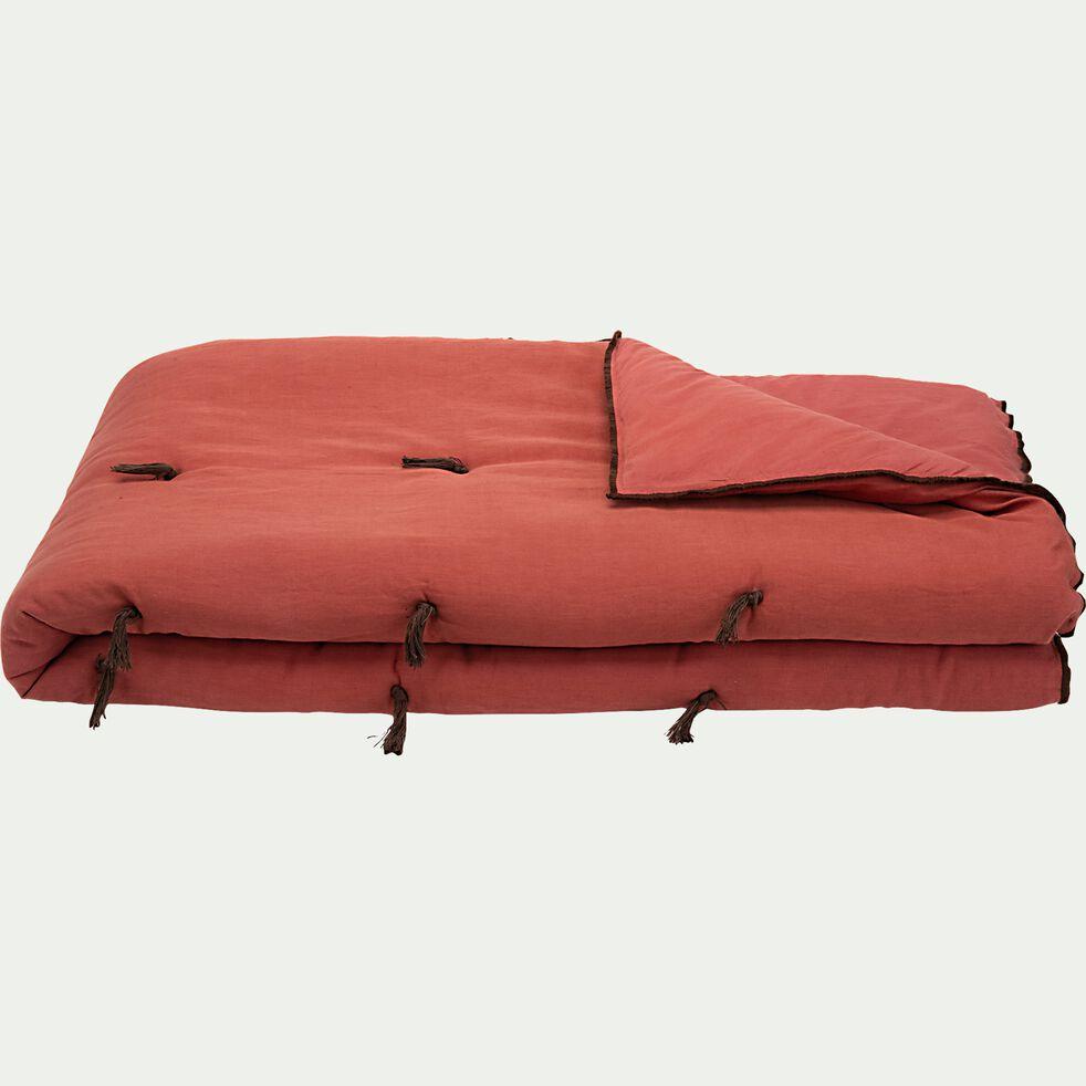 Edredon en lin et coton piquage pompons - rouge arcilla 100x180cm-ELINA