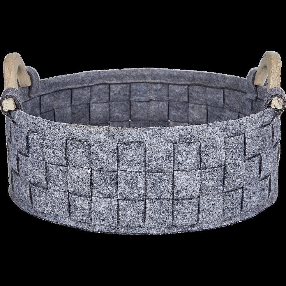 Panier en tissu gris D31,5xH16,5cm-Emile