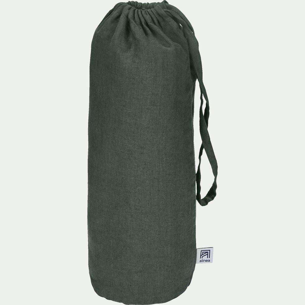 Drap housse en lin - vert cèdre 140x200cm B28cm-VENCE