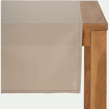 Chemin de table en coton beige alpilles 45x200cm-VENASQUE