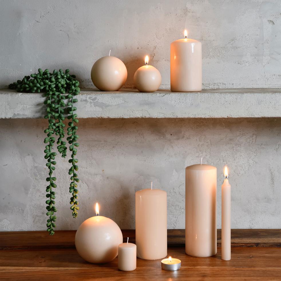 4 bougies votives grège-HALBA