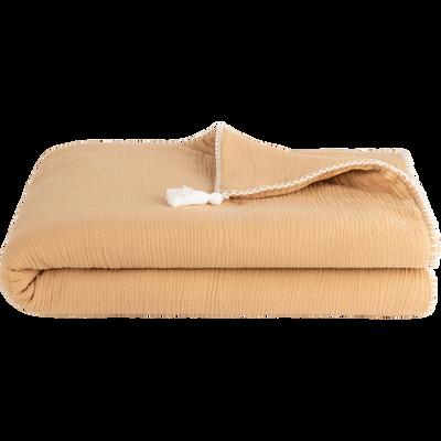 Plaid coton 100x150 cm - Beige nèfle-AZALEE