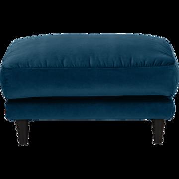 Pouf en velours bleu figuerolles-LENITA