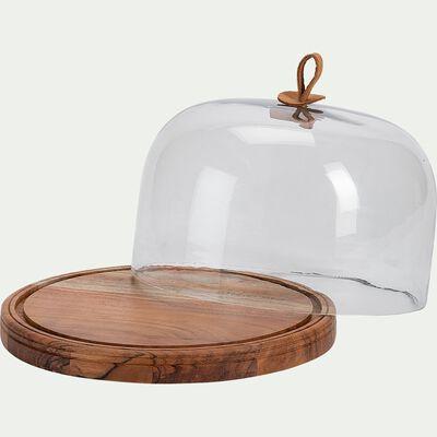 Plateau de présentation rond en bois de manguier - marron D27cm-STECCU
