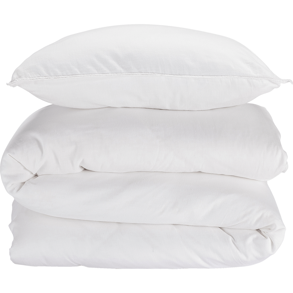 Housse de couette 240x220cm et 2 taies d'oreiller en gaze de coton - blanc-CABANON
