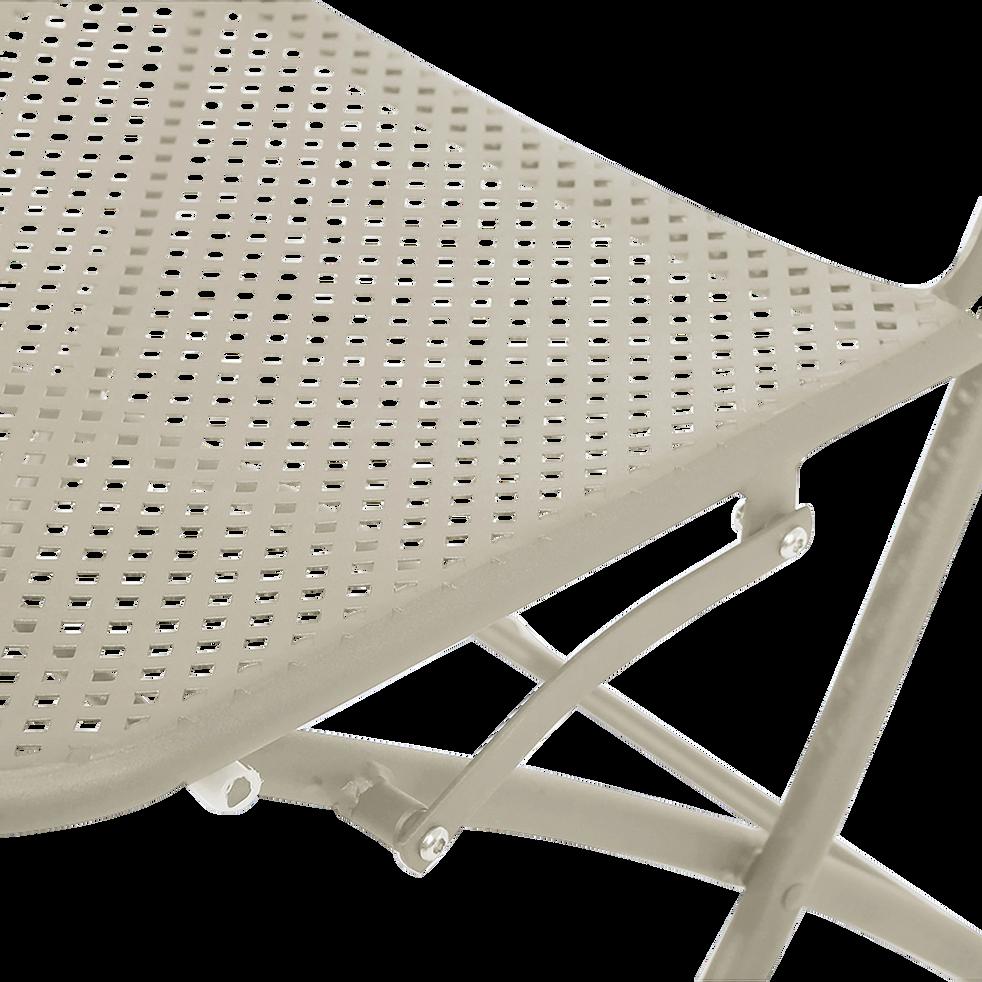 Chaise de jardin pliante grise en acier-HOLY